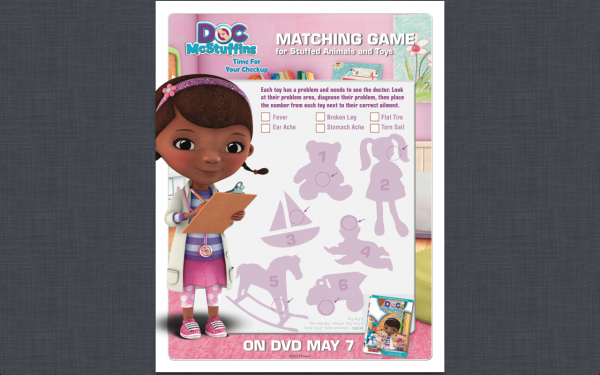 Doc McStuffins Printable Activity Sheets